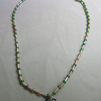 Green and Gold Wire-Wrapped Glass Bead Gold-Tone Pendant