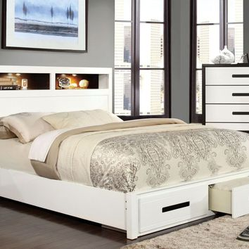 Bayu Modern Two-Tone Storage Queen Bed in Black and White