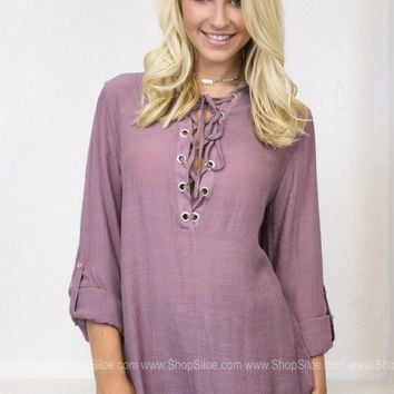Lilac Lace Up Top