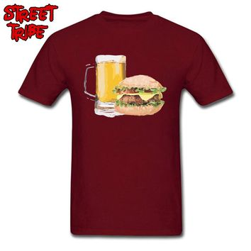 Foodies T-shirt Men Red T Shirts Burger & Beer Lover Clothes 3D Fast Food Print Tshirt Adult Oversized Funny Tops Drop Shipping