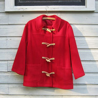 STOREWIDE SALE... Vintage red wool toggle coat.