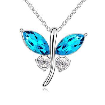 Crystal Cute Butterfly White Gold Pendant Necklace