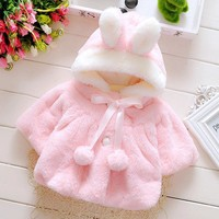 Trendy New Baby Girls Coat Autumn and winter clothing infant new children padded wool sweater girls spring Cape Cloak coat AT_94_13