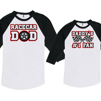 Matching Father Son Shirts Father Daughter Matching Shirts Racecar Dad Daddy's #1 Fan Bodysuit American Apparel Unisex Raglan MAT-744-745