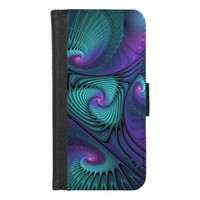 Purple meets Turquoise modern abstract Fractal Art iPhone 8/7 Wallet Case