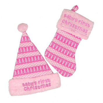 "Hat And Stocking -  "" Baby's First Christmas ""  For Girl"