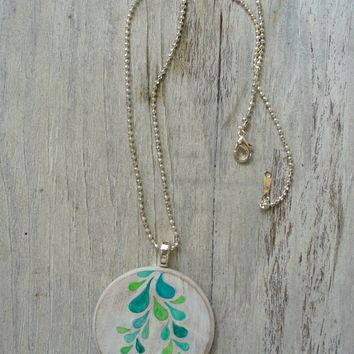 hand painted pendant necklace, sterling silver chain