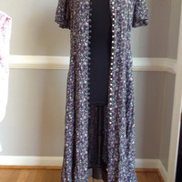 """80s Grunge Floral Duster Maxi """" Benson and Smith"""" Dress"""