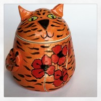 Cat Treat Jar Orange or Grey Tabby Ceramic Stoneware