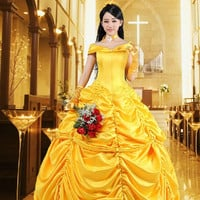 New 2016 Women Fantasies Halloween Cosplay South Of Beauty And Beast Costume Adult Princess Belle L2297