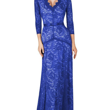 Blue V-Neck Sheer Lace Overlay  Bow Waist Maxi  Dress