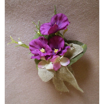 Flower broach flower pin violets rustic wedding flowers prom Mothers Day Easter corsage boutonniere