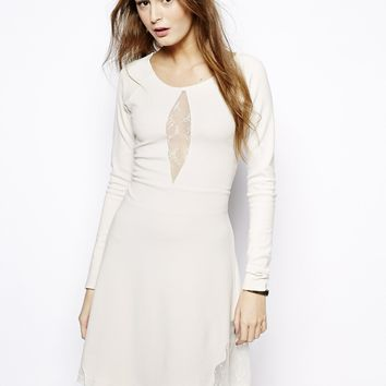 French Connection Hot Lace Round Neck Flared Dress