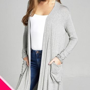 LL Plus Size Long Sleeve Cardigan w/ Pockets - Grey