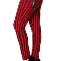 Banned Goth Punk Rock Red & Black Funky Striped Skinny Pants