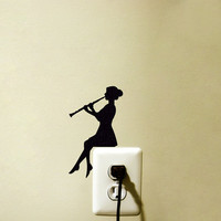 Light Switch Music Fabric Decal  - Clarinet Wall Sticker - Classical Music Wall Art - Instrument Decor - Music Decal