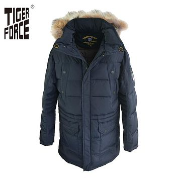 TIGER FORCE Hot Sale Men Fashion Padded Jacket Parka Winter Hooded Coat Parkas Raccoon Fur Collar Rib Cuff Free Shipping