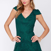 Playsuit Yourself Forest Green Lace Romper
