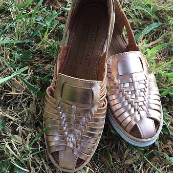 Mexican Leather Sandals Rose Gold