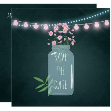 Pink and blue Cosmos Chalk Wedding Save the Date Card