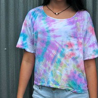 Pastel Tie Dye American Apparel Mid-Length Pocket Crop Top Tee Shirt