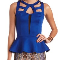 Caged Mesh Inset Peplum Tank: Charlotte Russe