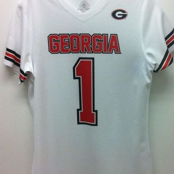 DCCKG8Q Georgia Bulldogs Jersey Dri Fit V Neck #1 White Shirt