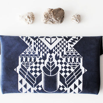 SALE Geometrical Illusion Printed Leather Pouch Navy by Corium