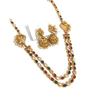 Long Haram Traditional matte gold finish oval kemp stone side shell with pearl cluster dual stranded Necklace and jhumka earring set