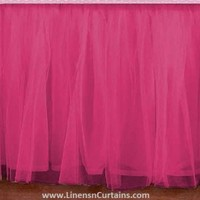 Adorable Tulle HOT PINK Ruffle Crib Skirt in all Sizes & Drop Lengths