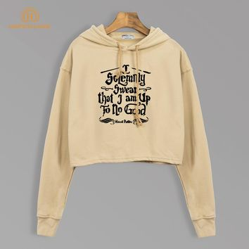 I Solemnly Swear That I Am Up To No Good Hogwarts Women Hoodies Autumn 2018 Women Crop Sweatshirt Kawaii Casual Pullovers S-XL