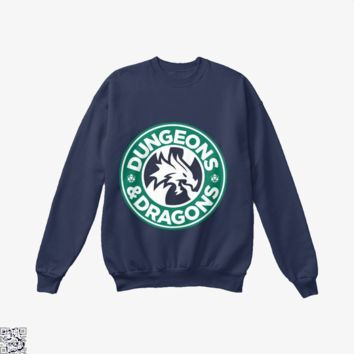 Starbucks Parody Mashup, Dragon And Dungeon Crew Neck Sweatshirt