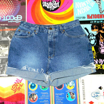 Vintage Denim Shorts - 90s Classic Stone Washed Jean Cut Offs - High Waisted/Frayed/Rolled Up/Cuffed/Naturally Distressed Shorts Size 10/12