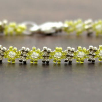 Green Silver Beaded Anklet Seed Beadwork Daisy Chain Jewelry