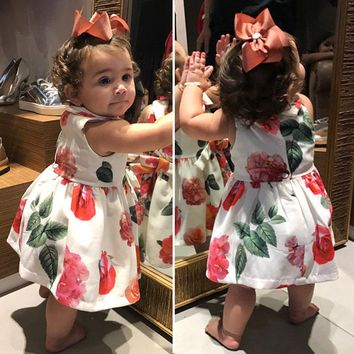 Pretty Newborn Baby Girls clothes sleeveless turn-down collar Button kids Princess Flower print cotton Mini Dresses one pieces