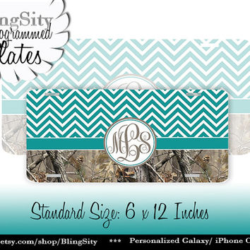 Turquoise Camo Chevrons License Plate Monogram Metal Wall Sign for Auto Car Truck Tags Personalized Custom Girl Vanity Tree Camo Country