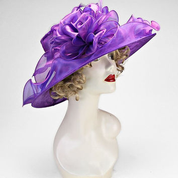 Kentucky Derby Church Wedding Tea Party Purple Wide Brimmed Layered Ribbon Lace Bow Feather Organza Hat