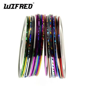 16PCS Color 0.8mm~1mm Narrow Tinsel Tape for Rod Bulding Glue Backing Tinsel Flashabou Line for Fly Tying Holographic Gold Red