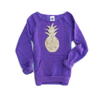 Purple Sequin Pineapple Patch Sweatshirt Jumper