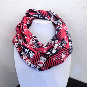 Betty Boop Scarf - Betty Boop Infinity Scarf - Fun Valentine's Day Scarf - Hearts Black Red Cotton
