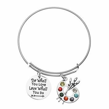Artist Paint Palette Charm Bracelet, Do What You Love, Love What You Do Painters Jewelry Gift