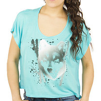 Girls 'Wolf Face' Fashion Print Top