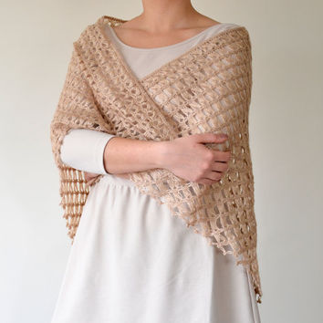 Handmade Beige, Broomstick Lace Crochet, Triangle Shawl