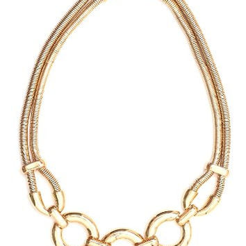 Circle Links Collar Necklace Gold Tone Vintage Statement NM36 Fashion Jewelry