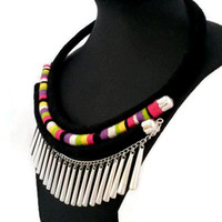 Tribal necklace/wrapped rope necklace/african necklace/handmade/bohemian necklace/ethnic/multicolored