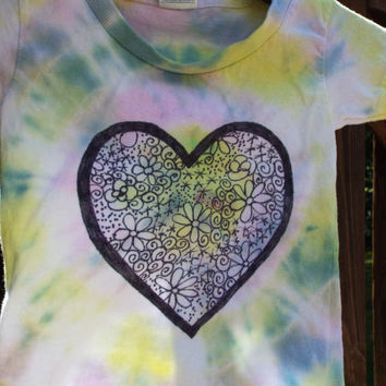 Toddler Tie Dye w Zentangle Heart, 2T Girls Shirt, TieDye Toddler Valentine Shirt, Girls Heart Shirt, Toddler Girls Heart Tshirt, Zendoodle