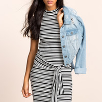 Line Out Knot Front Dress