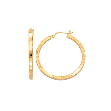14K Yellow Gold Fancy Diamond Cut Square Tube Round Hoop Earring  with Hinged Clasp