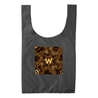 Cool brown stripped fractal. Monogram. Reusable Bag