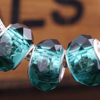 Deep Teal Green Faceted Crystal European Charm   Authentic Pugster   Silver Toned Dark Forest Glass Gift Spacer Bead for Bracelet Necklace
